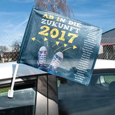 Autoflagge weiß mit Halterung bedruckt Abi-Thema