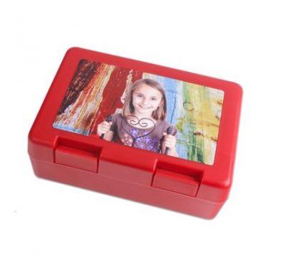 Brotzeitbox Rot bedruckt Mädchen