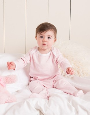 Contrast Long Sleeved Sleepsuit unbedruckt Pink