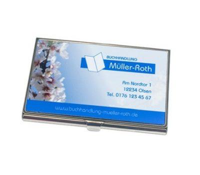 Visitenkartenbox Silber 97 x 68 mm bedruckt Müller Roth
