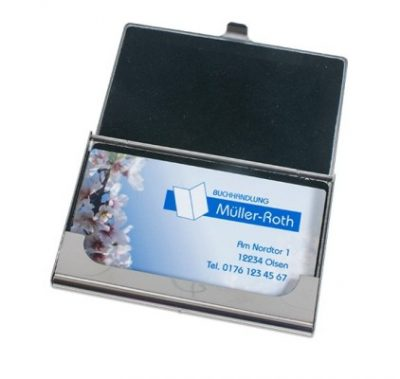 Visitenkartenbox Silber 97 x 68 mm geöffnet