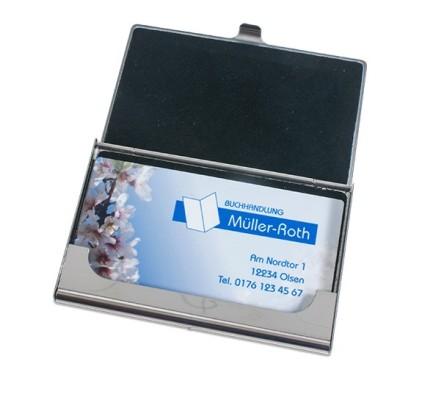 Visitenkartenbox Silber 97 X 68 Mm Innenseite Mit Schwarzem