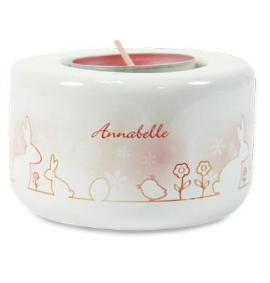 Keramik Kerzen- Teelichthalter bedruckt orange