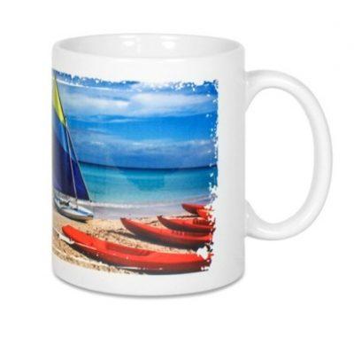 Keramiktasse LENA Weiß bedruckt Strand