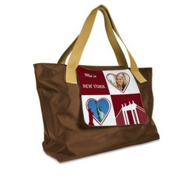 Shopping Bag LONDON Braun bedruckt Love