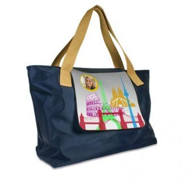Shopping Bag LONDON Navyblau bedruckt Stadt