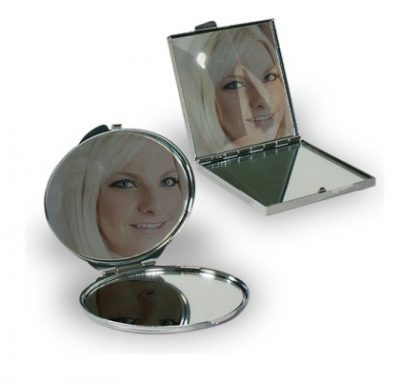Handtaschenspiegel rund quadratisch bedruckt geöffnet