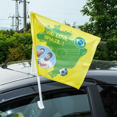 Autoflagge weiß mit Halterung bedruckt Fußall Brasil