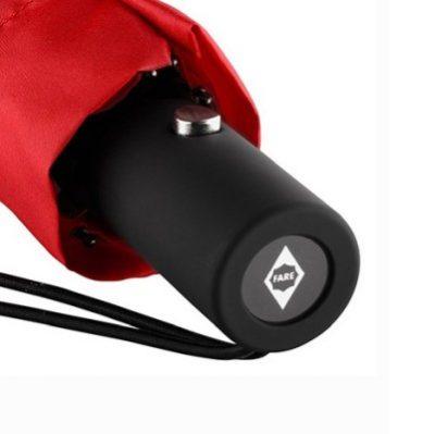 AC-Mini-Taschenschirm unbedruckt Rot geschlossen Griff Detail