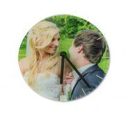 Glaswanduhr mit glatter Oberfläche bedruckt Hochzeitspaar