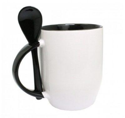 Löffel Tasse weiß Henkel innen schwarz unbedruckt