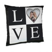 Kissen, inkl. Bezug schwarz satiniert bedruckt Love