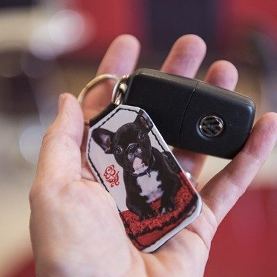 Schlüsselanhänger Rechteck aus Kunstleder mit Schlüssel bedruckt