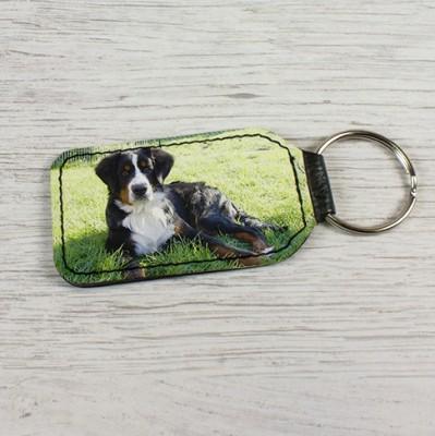 Schlüsselanhänger Rechteck aus Kunstleder bedruckt Hund