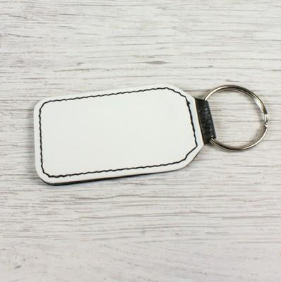 Schlüsselanhänger Rechteck aus Kunstleder unbedruckt