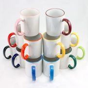 Keramiktasse RIM & HANDLE gesamte Farben Auswahl unbedruckt