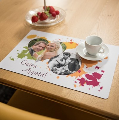 Textil-Tischset Weiß 390 x 260 mm bedruckt Guten Appetit auf Tisch