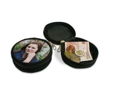 Mini-Geldbörse Farbe Schwarz Ø 90 mm bedruckt junge Frau