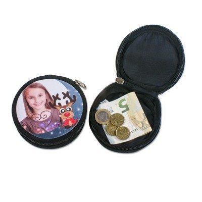 Mini-Geldbörse Farbe Schwarz Ø 90 mm bedruckt Mädchen