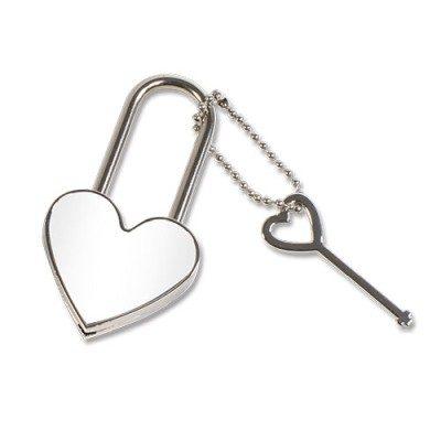 Liebesschloss abschließbar Herzform unbedruckt Silber