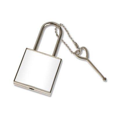 Liebesschloss abschließbar quadratisch unbedruckt Silber