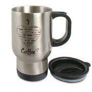 Edelstahl-Thermobecher silber bedruckt Coffee