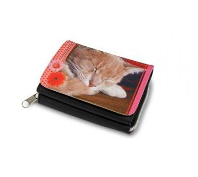 Textil-Geldboerse Schwarz 120 x 85 mm bedruckt Katze